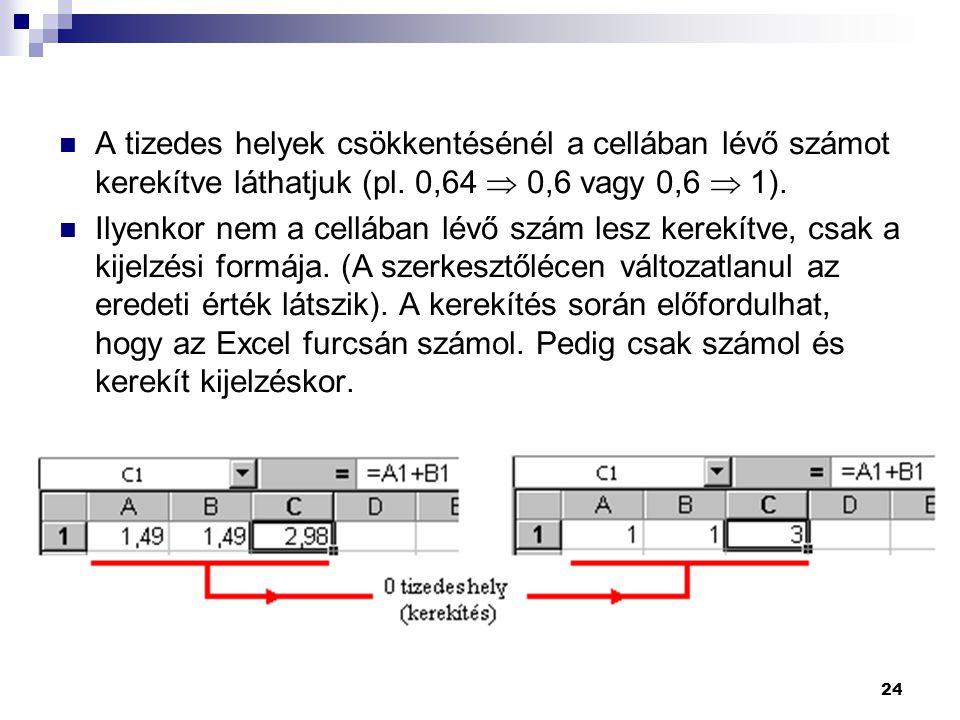 24  A tizedes helyek csökkentésénél a cellában lévő számot kerekítve láthatjuk (pl.