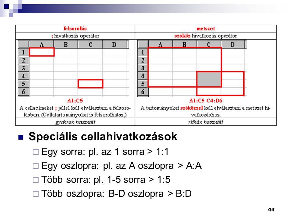 44  Speciális cellahivatkozások  Egy sorra: pl.az 1 sorra > 1:1  Egy oszlopra: pl.