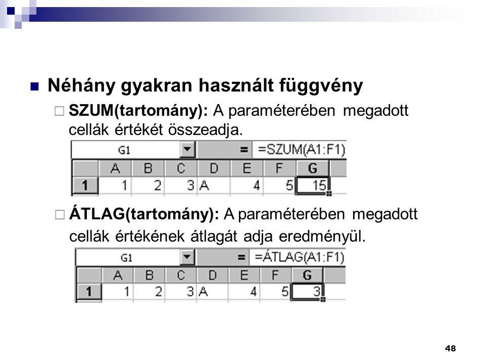 48  Néhány gyakran használt függvény  SZUM(tartomány): A paraméterében megadott cellák értékét összeadja.