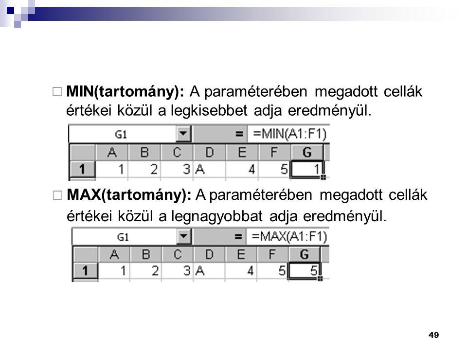 49  MIN(tartomány): A paraméterében megadott cellák értékei közül a legkisebbet adja eredményül.