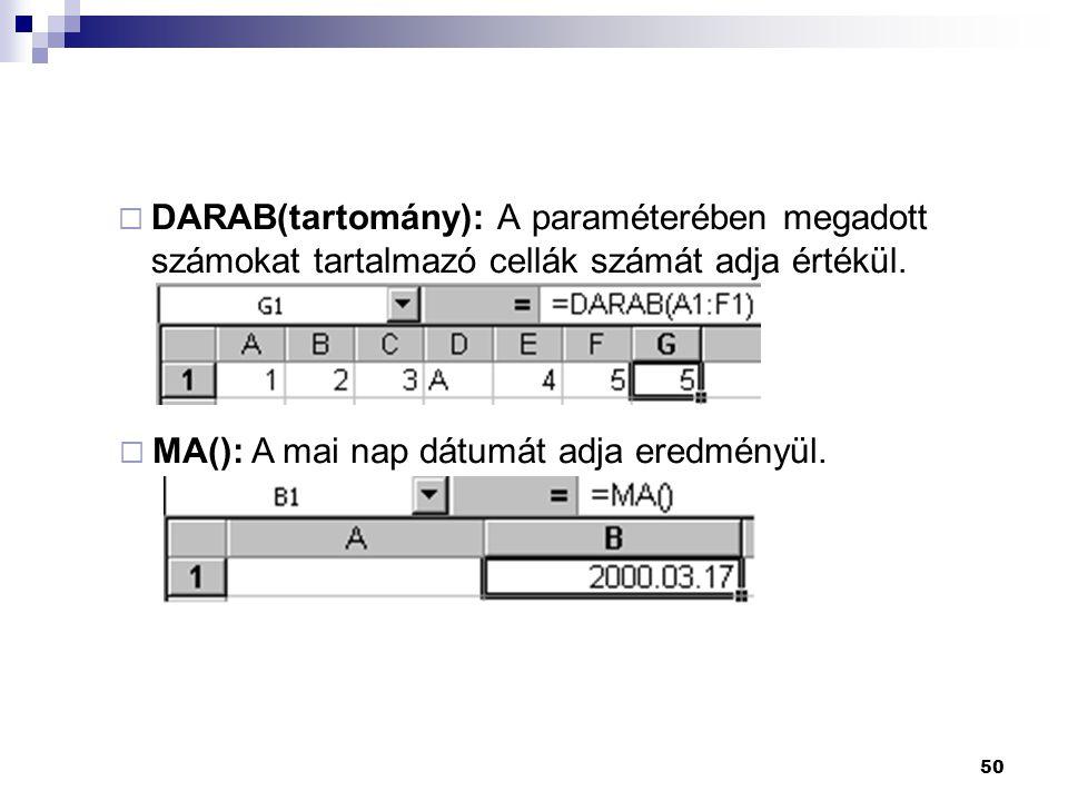 50  DARAB(tartomány): A paraméterében megadott számokat tartalmazó cellák számát adja értékül.