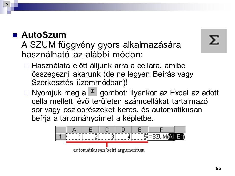 55  AutoSzum A SZUM függvény gyors alkalmazására használható az alábbi módon:  Használata előtt álljunk arra a cellára, amibe összegezni akarunk (de ne legyen Beírás vagy Szerkesztés üzemmódban).