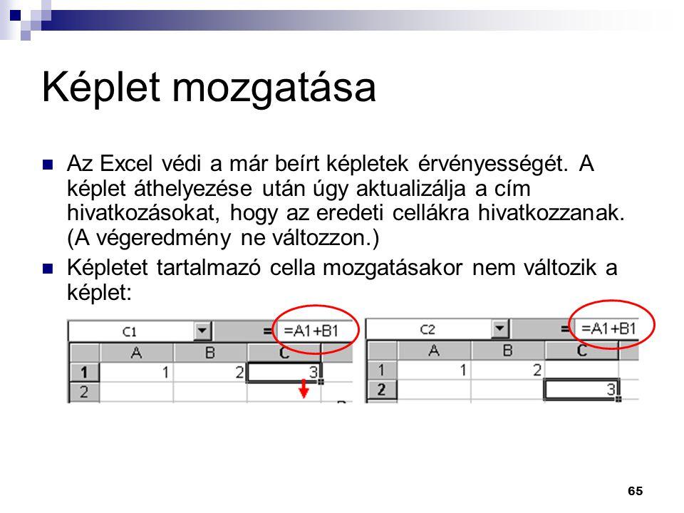 65 Képlet mozgatása  Az Excel védi a már beírt képletek érvényességét.