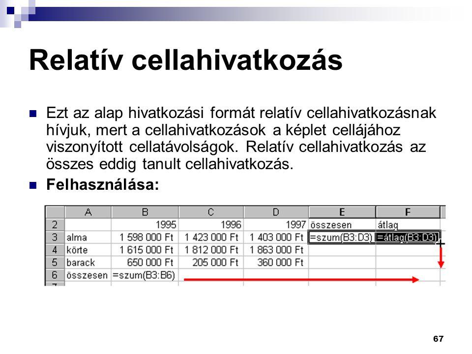 67 Relatív cellahivatkozás  Ezt az alap hivatkozási formát relatív cellahivatkozásnak hívjuk, mert a cellahivatkozások a képlet cellájához viszonyított cellatávolságok.