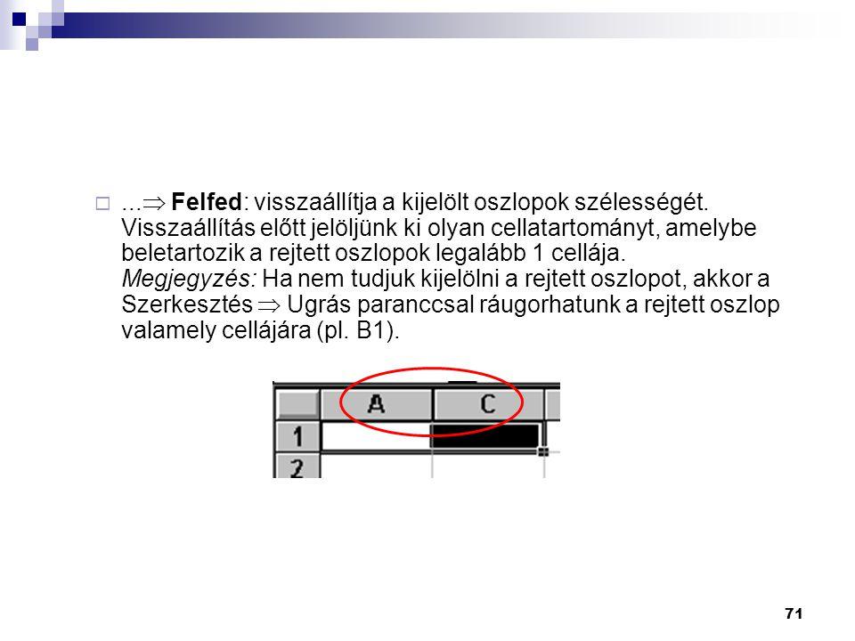 71 ... Felfed: visszaállítja a kijelölt oszlopok szélességét.