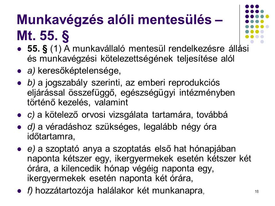 18 Munkavégzés alóli mentesülés – Mt.55. §  55.