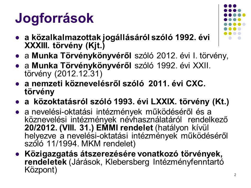 2 Jogforrások  a közalkalmazottak jogállásáról szóló 1992.