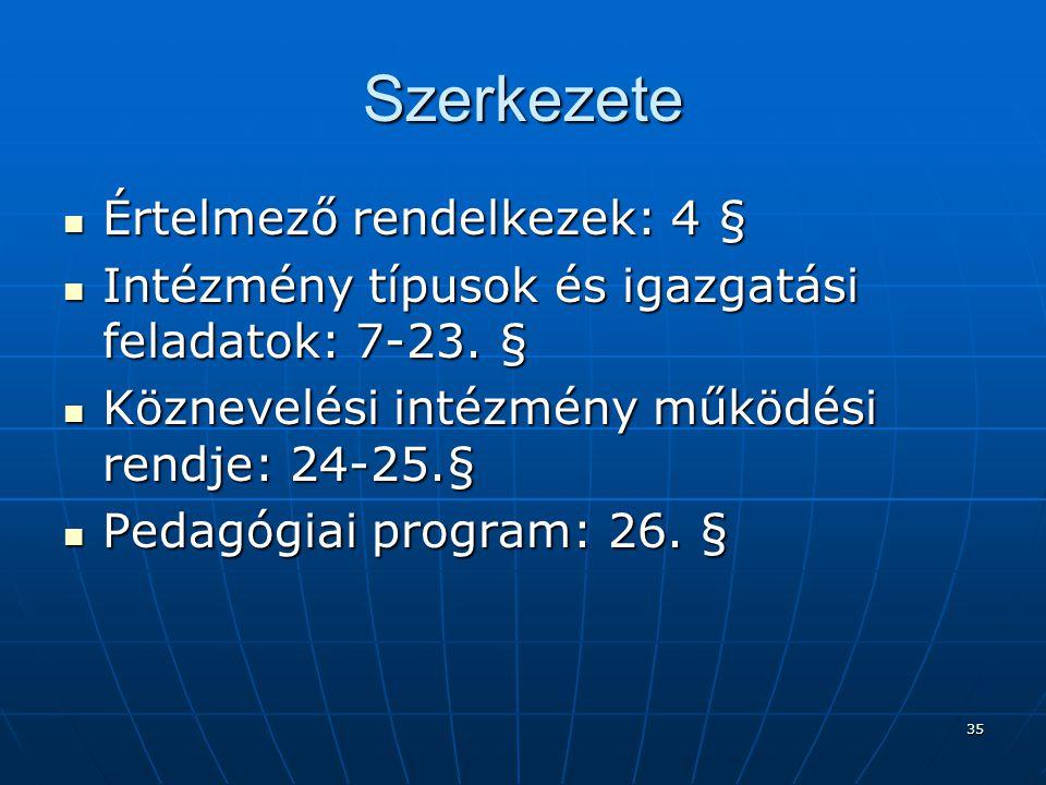 35 Szerkezete  Értelmező rendelkezek: 4 §  Intézmény típusok és igazgatási feladatok: 7-23.