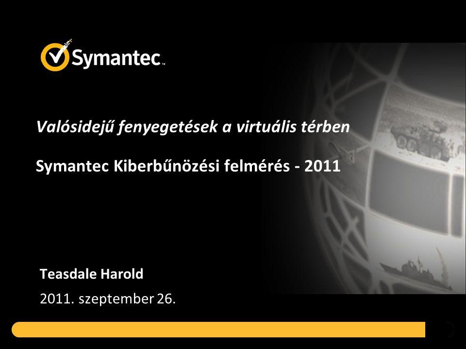 Valósidejű fenyegetések a virtuális térben Symantec Kiberbűnözési felmérés - 2011 Teasdale Harold 2011.