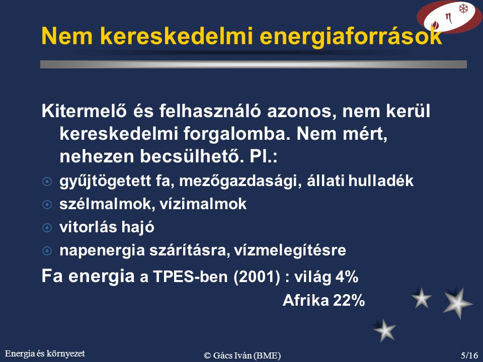 Energia és környezet © Gács Iván (BME)5/16 Nem kereskedelmi energiaforrások Kitermelő és felhasználó azonos, nem kerül kereskedelmi forgalomba. Nem mé