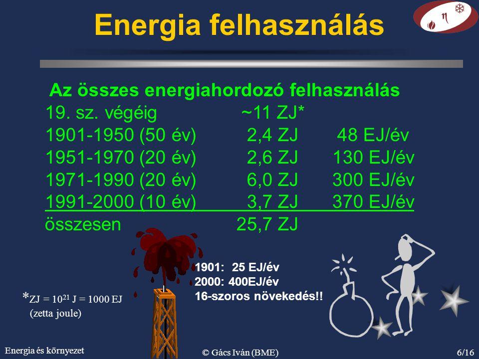 Energia és környezet © Gács Iván (BME)6/16 Energia felhasználás Az összes energiahordozó felhasználás 19. sz. végéig ~11 ZJ* 1901-1950 (50 év) 2,4 ZJ