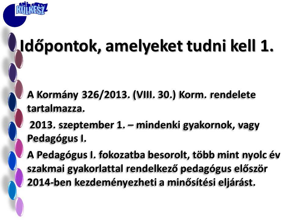 A Kormány 326/2013. (VIII. 30.) Korm. rendelete tartalmazza. 2013. szeptember 1. – mindenki gyakornok, vagy Pedagógus I. A Pedagógus I. fokozatba beso