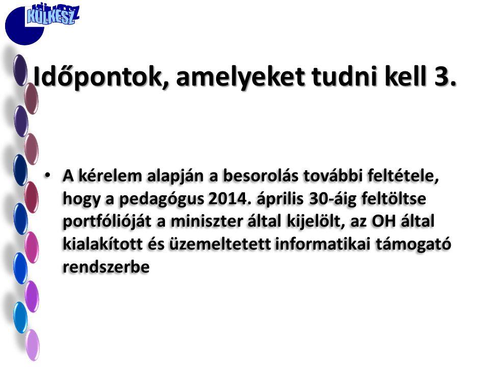 • A kérelem alapján a besorolás további feltétele, hogy a pedagógus 2014. április 30-áig feltöltse portfólióját a miniszter által kijelölt, az OH álta