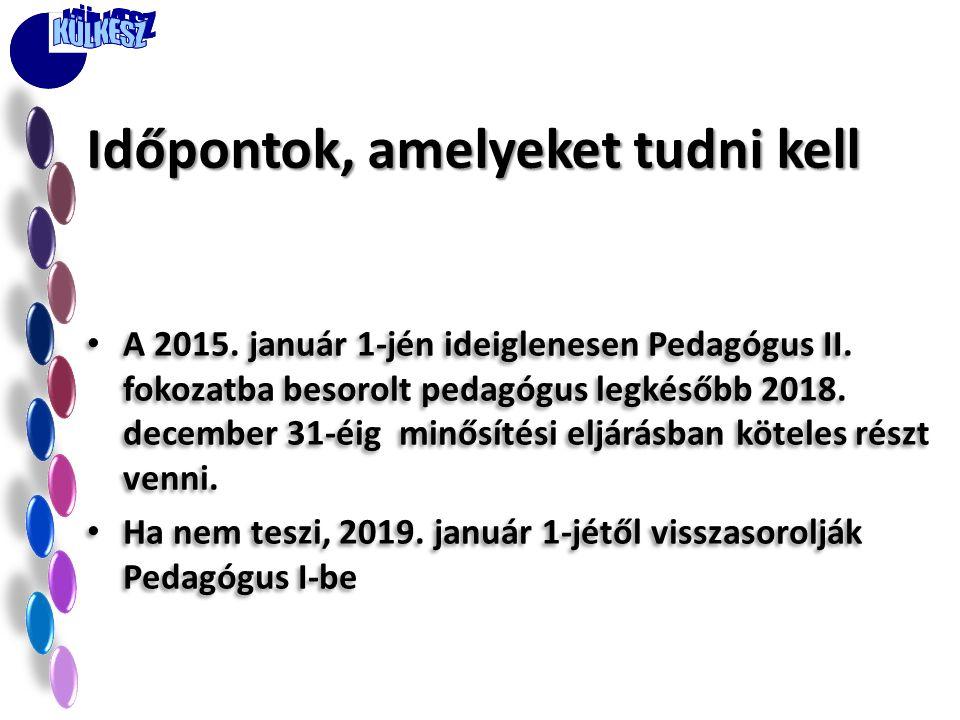 • A 2015. január 1-jén ideiglenesen Pedagógus II. fokozatba besorolt pedagógus legkésőbb 2018. december 31-éig minősítési eljárásban köteles részt ven