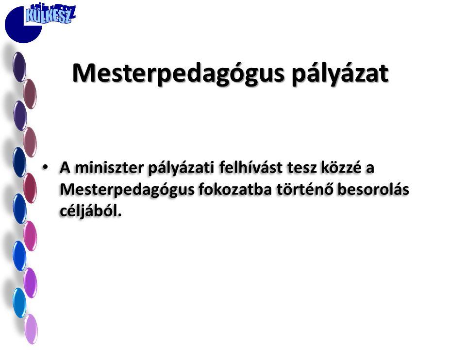 • A miniszter pályázati felhívást tesz közzé a Mesterpedagógus fokozatba történő besorolás céljából. Mesterpedagógus pályázat