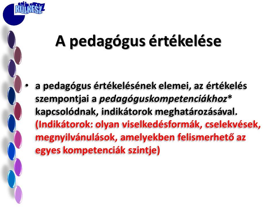 • a pedagógus értékelésének elemei, az értékelés szempontjai a pedagóguskompetenciákhoz* kapcsolódnak, indikátorok meghatározásával.