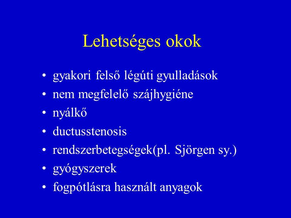 Lehetséges okok •gyakori felső légúti gyulladások •nem megfelelő szájhygiéne •nyálkő •ductusstenosis •rendszerbetegségek(pl. Sjörgen sy.) •gyógyszerek