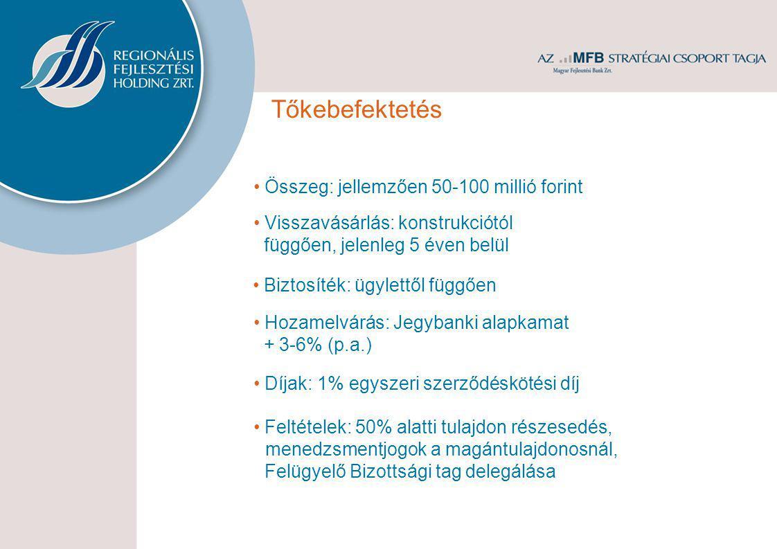 • Összeg: jellemzően 50-100 millió forint • Visszavásárlás: konstrukciótól függően, jelenleg 5 éven belül • Hozamelvárás: Jegybanki alapkamat + 3-6% (p.a.) • Díjak: 1% egyszeri szerződéskötési díj • Feltételek: 50% alatti tulajdon részesedés, menedzsmentjogok a magántulajdonosnál, Felügyelő Bizottsági tag delegálása • Biztosíték: ügylettől függően Tőkebefektetés