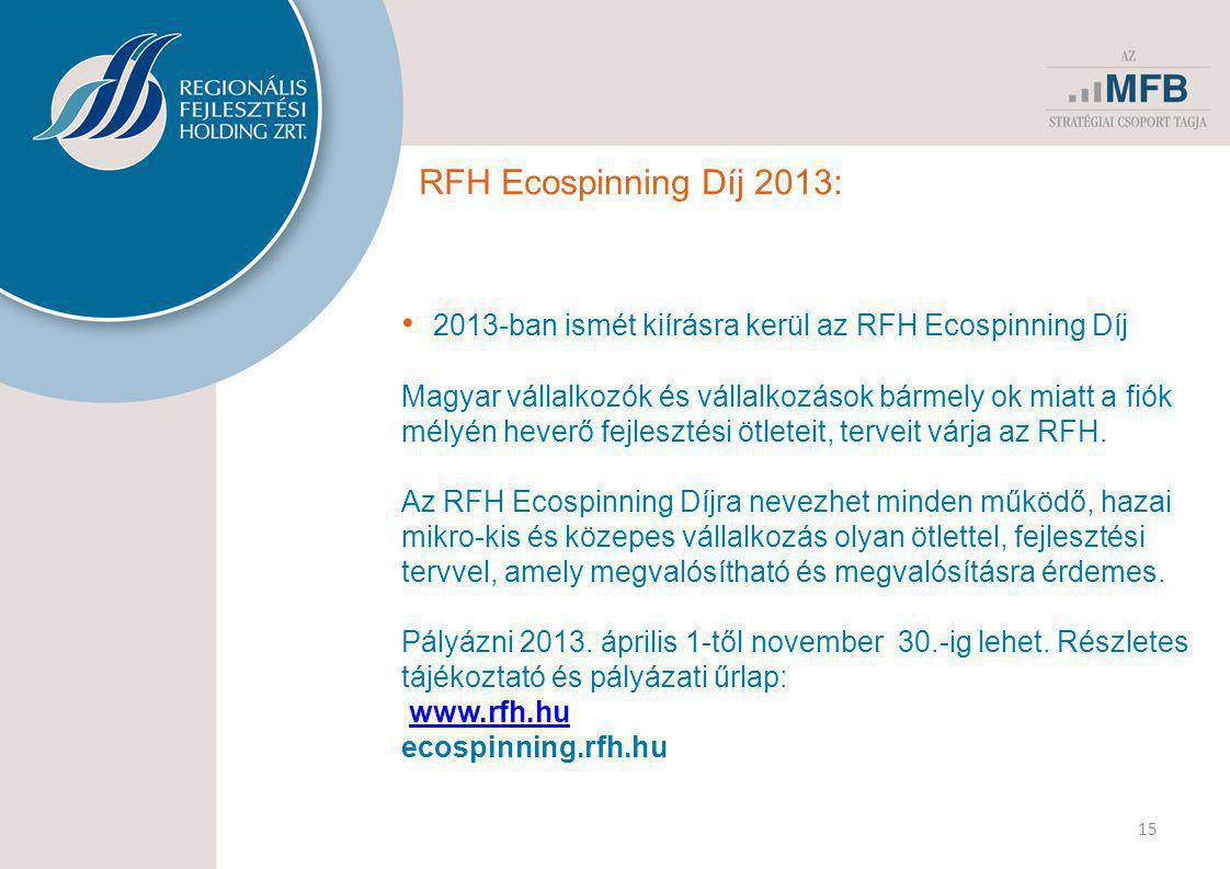 RFH Ecospinning Díj 2013: • 2013-ban ismét kiírásra kerül az RFH Ecospinning Díj Magyar vállalkozók és vállalkozások bármely ok miatt a fiók mélyén heverő fejlesztési ötleteit, terveit várja az RFH.