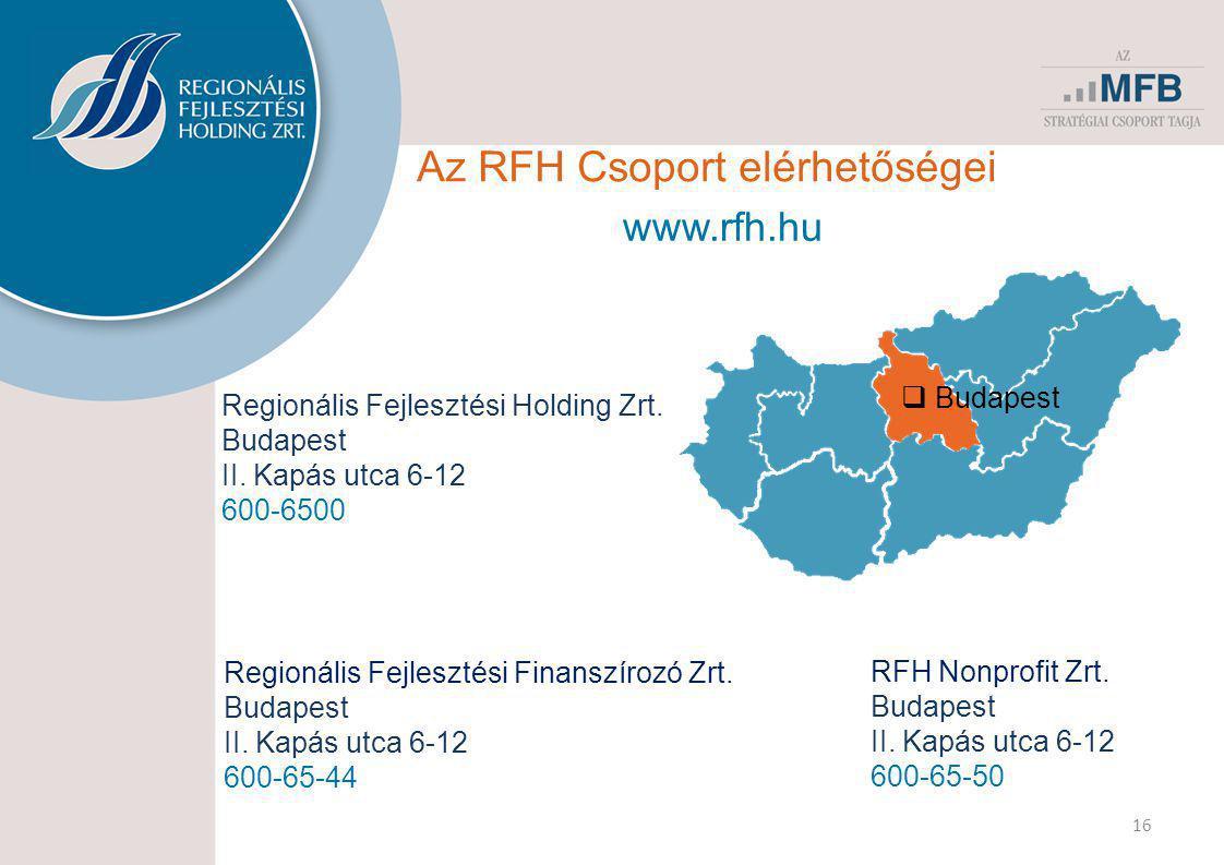 Az RFH Csoport elérhetőségei 16 www.rfh.hu Regionális Fejlesztési Holding Zrt. Budapest II. Kapás utca 6-12 600-6500 Regionális Fejlesztési Finanszíro