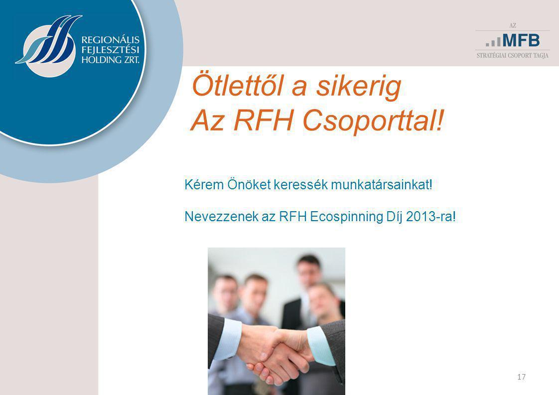 Ötlettől a sikerig Az RFH Csoporttal! 17 Kérem Önöket keressék munkatársainkat! Nevezzenek az RFH Ecospinning Díj 2013-ra!