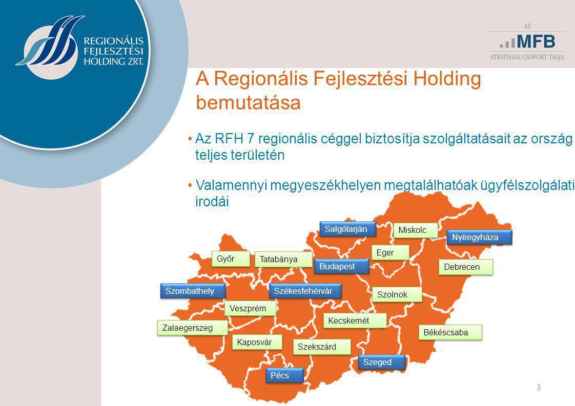 4 Az RFH cégcsoport • Országos hatáskörű finanszírozó céggel áll partnerei rendelkezésére • Megyei hálózata az MFB csoport cégeinek és az RFH más partnereinek termékeit is elérhetővé teszi.
