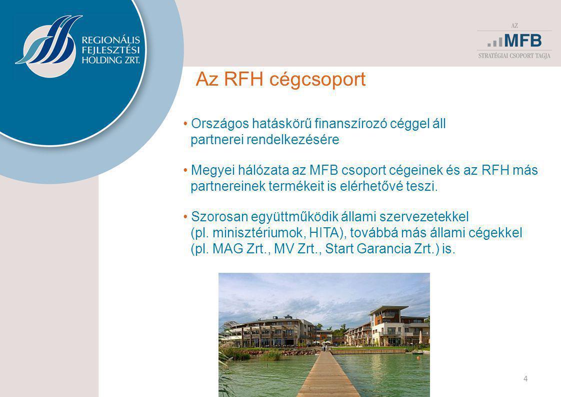 4 Az RFH cégcsoport • Országos hatáskörű finanszírozó céggel áll partnerei rendelkezésére • Megyei hálózata az MFB csoport cégeinek és az RFH más part