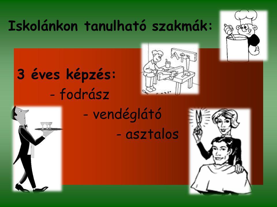 Iskolánkon tanulható szakmák: 2 éves felépítményi képzés: - vállalkozás a szakmák és szolgáltatások területén