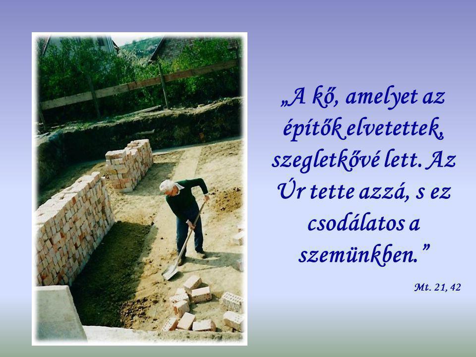 """""""Ha az Úr nem építi a házat, az építők hiába fáradnak. Zsolt. 127, 1"""