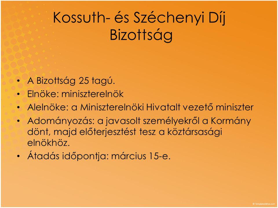 Kossuth- és Széchenyi Díj Bizottság • A Bizottság 25 tagú. • Elnöke: miniszterelnök • Alelnöke: a Miniszterelnöki Hivatalt vezető miniszter • Adományo