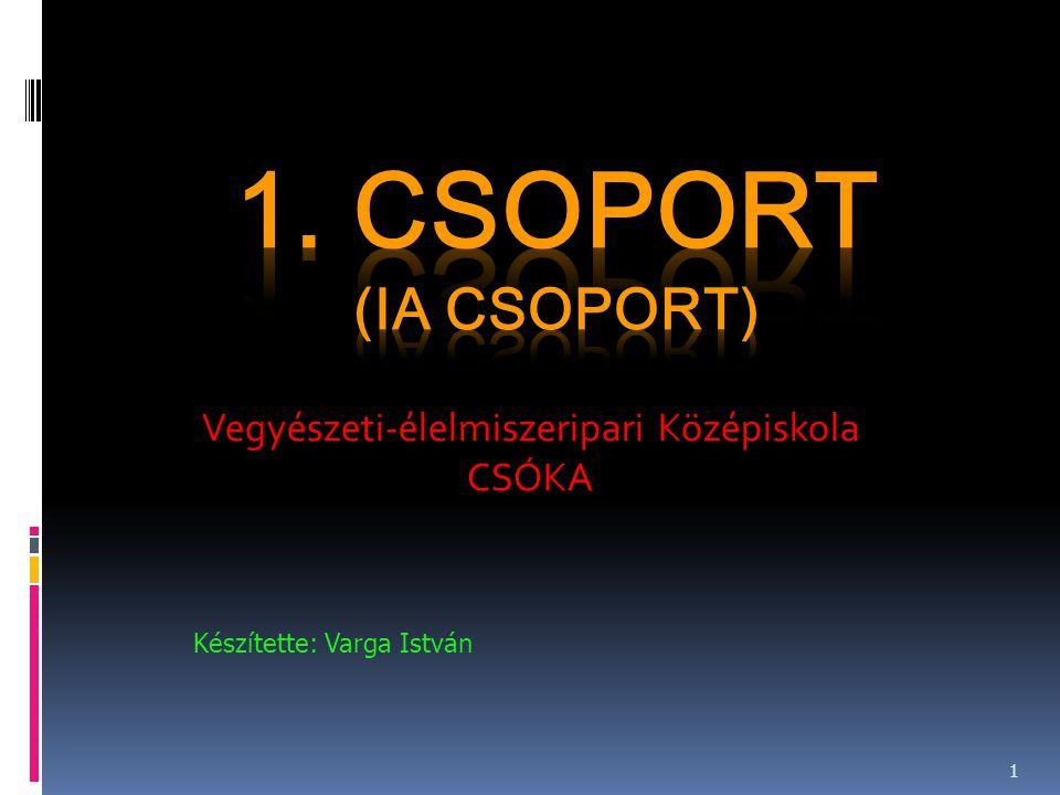 Vegyészeti-élelmiszeripari Középiskola CSÓKA Készítette: Varga István 1