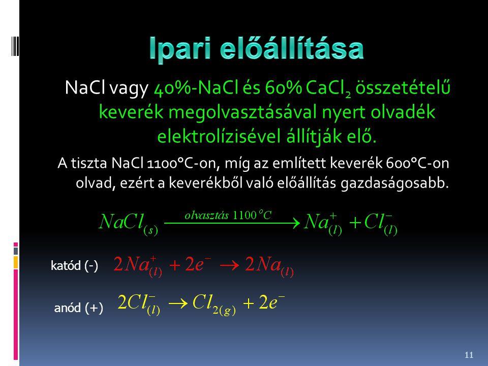 NaCl vagy 40%-NaCl és 60% CaCl 2 összetételű keverék megolvasztásával nyert olvadék elektrolízisével állítják elő. A tiszta NaCl 1100°C-on, míg az eml