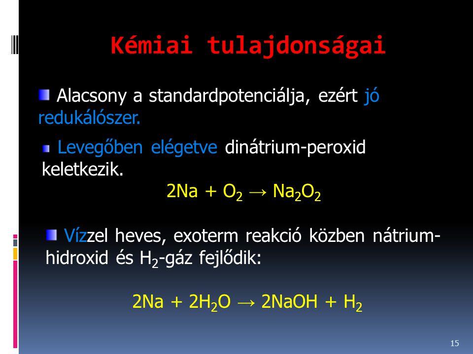 Kémiai tulajdonságai 15 Alacsony a standardpotenciálja, ezért jó redukálószer. Levegőben elégetve dinátrium-peroxid keletkezik. 2Na + O 2 → Na 2 O 2 V