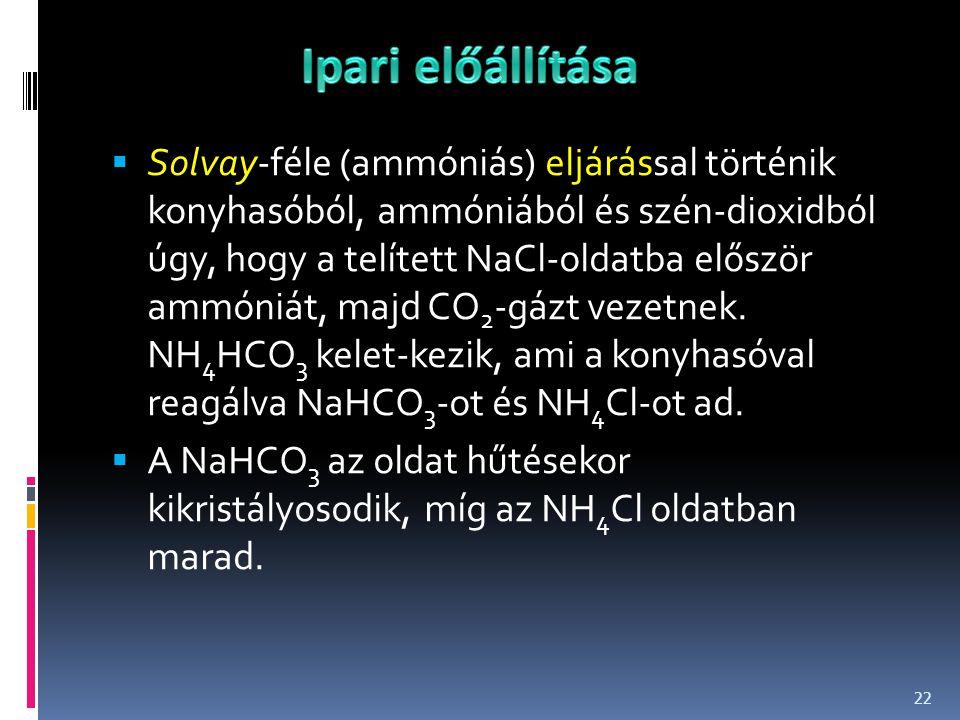  Solvay-féle (ammóniás) eljárással történik konyhasóból, ammóniából és szén-dioxidból úgy, hogy a telített NaCl-oldatba először ammóniát, majd CO 2 -
