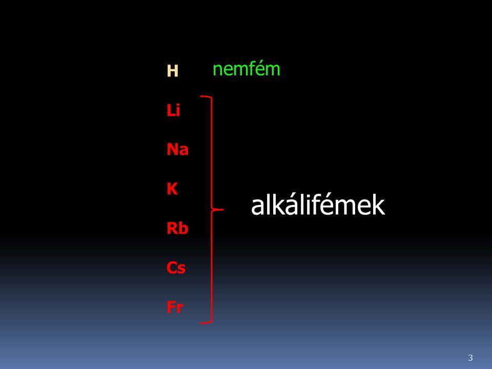 H Li Na K Rb Cs Fr nemfém alkálifémek 3