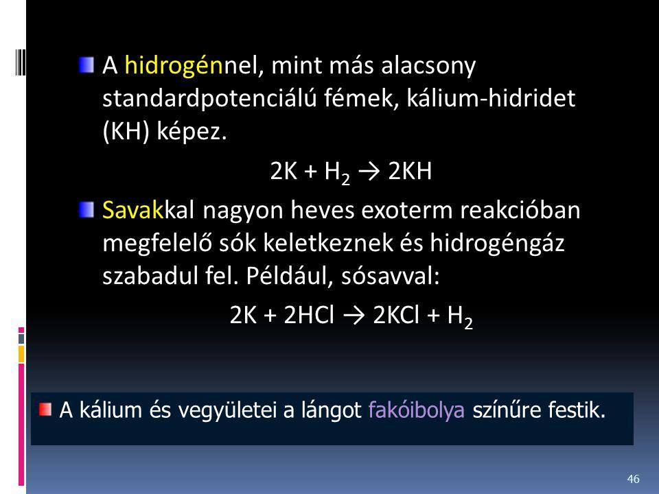 A hidrogénnel, mint más alacsony standardpotenciálú fémek, kálium-hidridet (KH) képez. 2K + H 2 → 2KH Savakkal nagyon heves exoterm reakcióban megfele