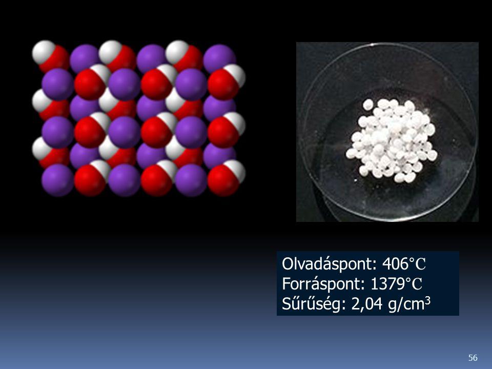 56 Olvadáspont: 406 °C Forráspont: 1379 °C Sűrűség: 2,04 g/cm 3