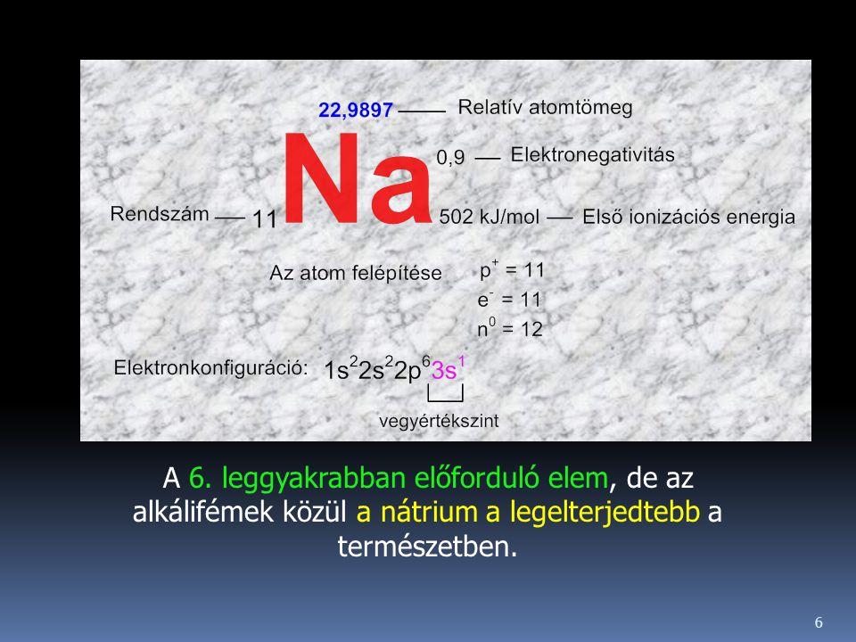 A 6. leggyakrabban előforduló elem, de az alkálifémek közül a nátrium a legelterjedtebb a természetben. 6
