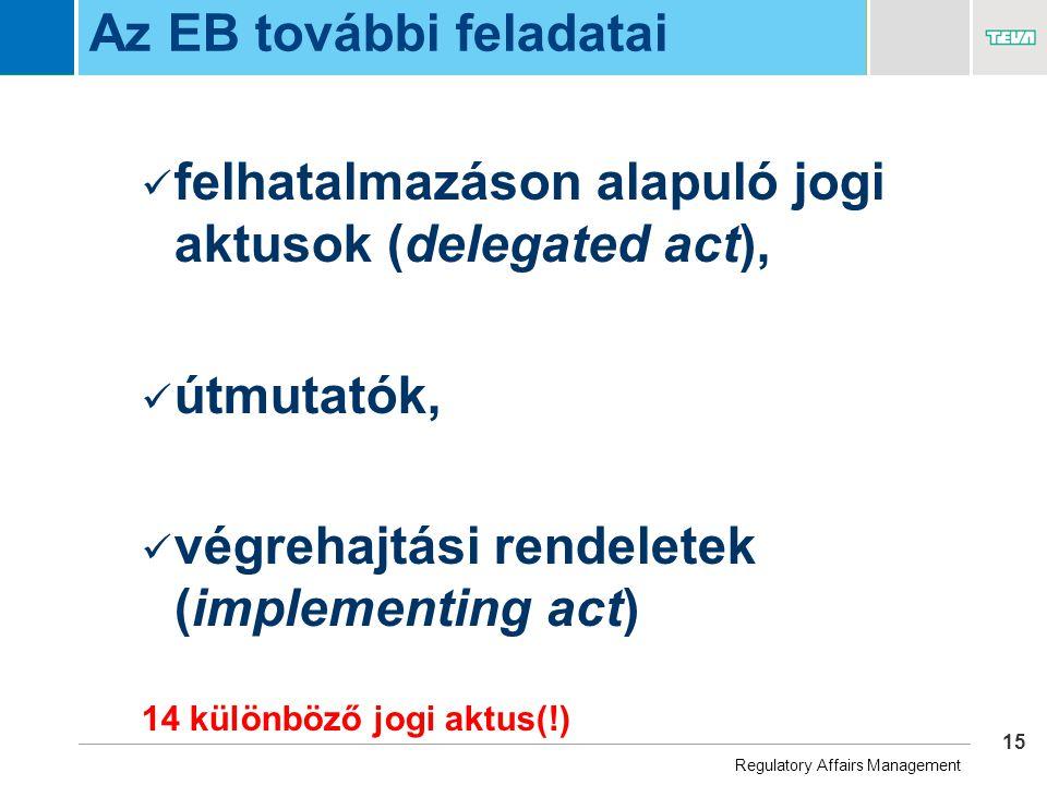 15 Business Unit Name Az EB további feladatai  felhatalmazáson alapuló jogi aktusok (delegated act),  útmutatók,  végrehajtási rendeletek (implementing act) 14 különböző jogi aktus(!) Regulatory Affairs Management