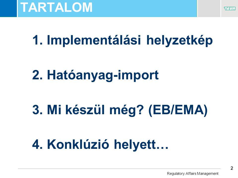 2 Business Unit Name TARTALOM 1. Implementálási helyzetkép 2.
