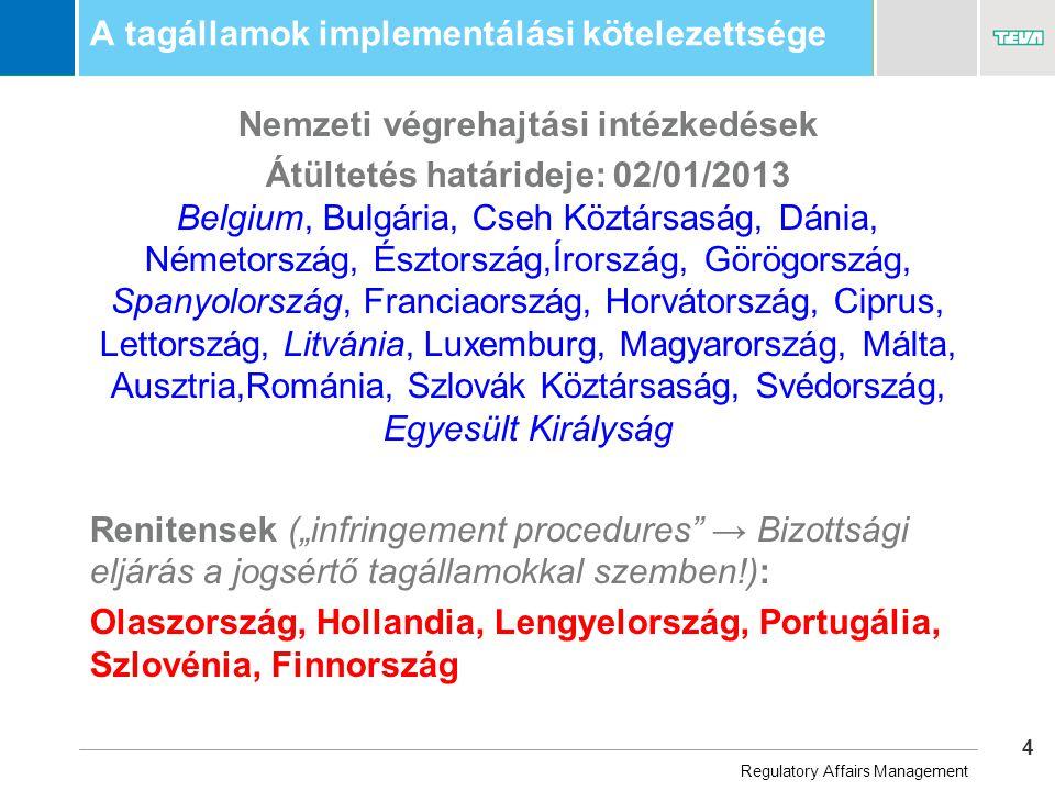 """4 Business Unit Name A tagállamok implementálási kötelezettsége Nemzeti végrehajtási intézkedések Átültetés határideje: 02/01/2013 Belgium, Bulgária, Cseh Köztársaság, Dánia, Németország, Észtország,Írország, Görögország, Spanyolország, Franciaország, Horvátország, Ciprus, Lettország, Litvánia, Luxemburg, Magyarország, Málta, Ausztria,Románia, Szlovák Köztársaság, Svédország, Egyesült Királyság Renitensek (""""infringement procedures → Bizottsági eljárás a jogsértő tagállamokkal szemben!): Olaszország, Hollandia, Lengyelország, Portugália, Szlovénia, Finnország Regulatory Affairs Management"""