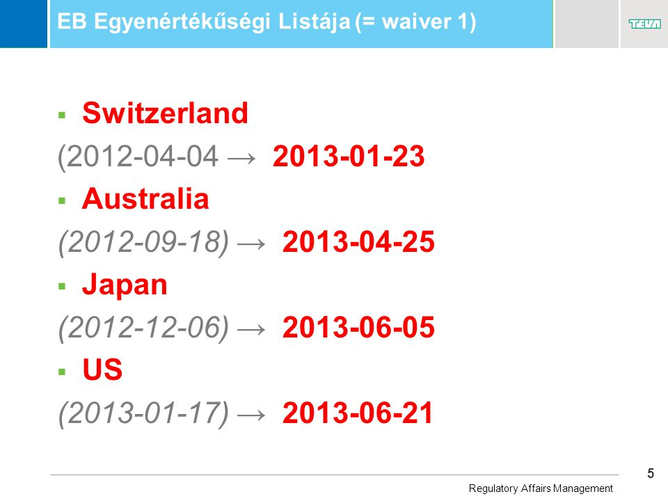 5 Business Unit Name EB Egyenértékűségi Listája (= waiver 1)  Switzerland (2012-04-04 → 2013-01-23  Australia (2012-09-18) → 2013-04-25  Japan (2012-12-06) → 2013-06-05  US (2013-01-17) → 2013-06-21 Regulatory Affairs Management