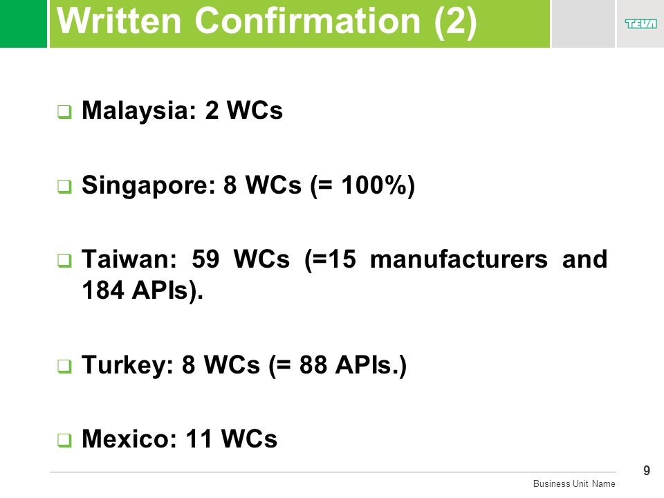 9 Business Unit Name Written Confirmation (2)  Malaysia: 2 WCs  Singapore: 8 WCs (= 100%)  Taiwan: 59 WCs (=15 manufacturers and 184 APIs).