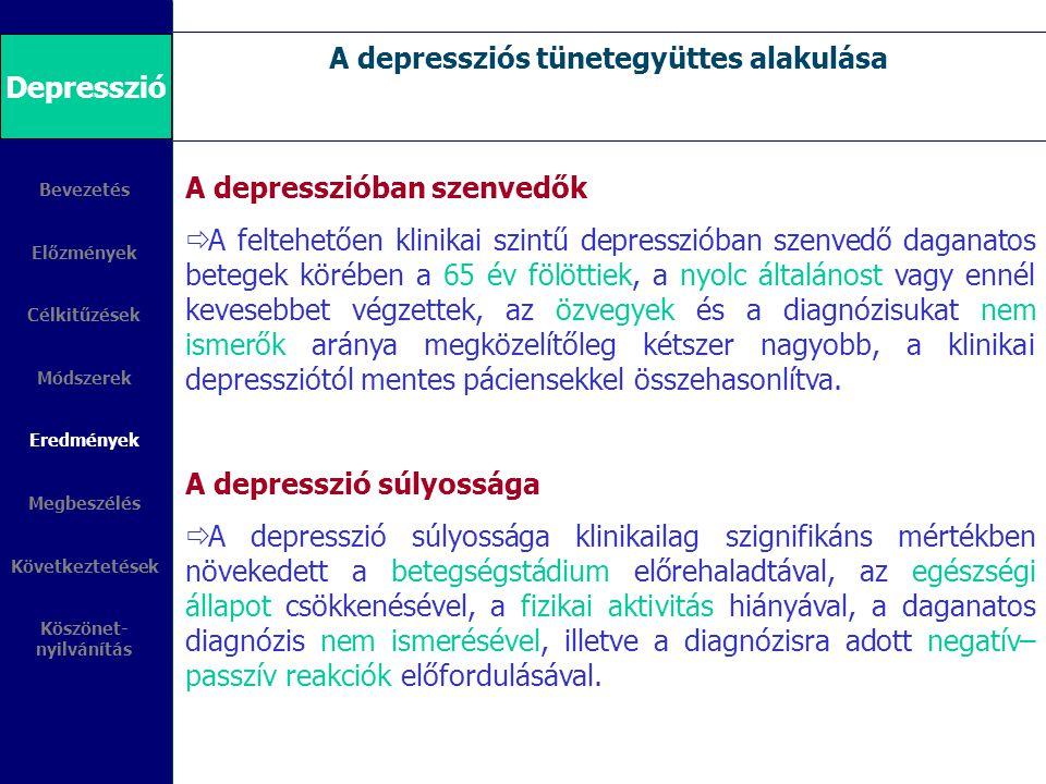 A depressziós tünetegyüttes alakulása Bevezetés Előzmények Célkitűzések Módszerek Eredmények Megbeszélés Következtetések Köszönet- nyilvánítás Depress