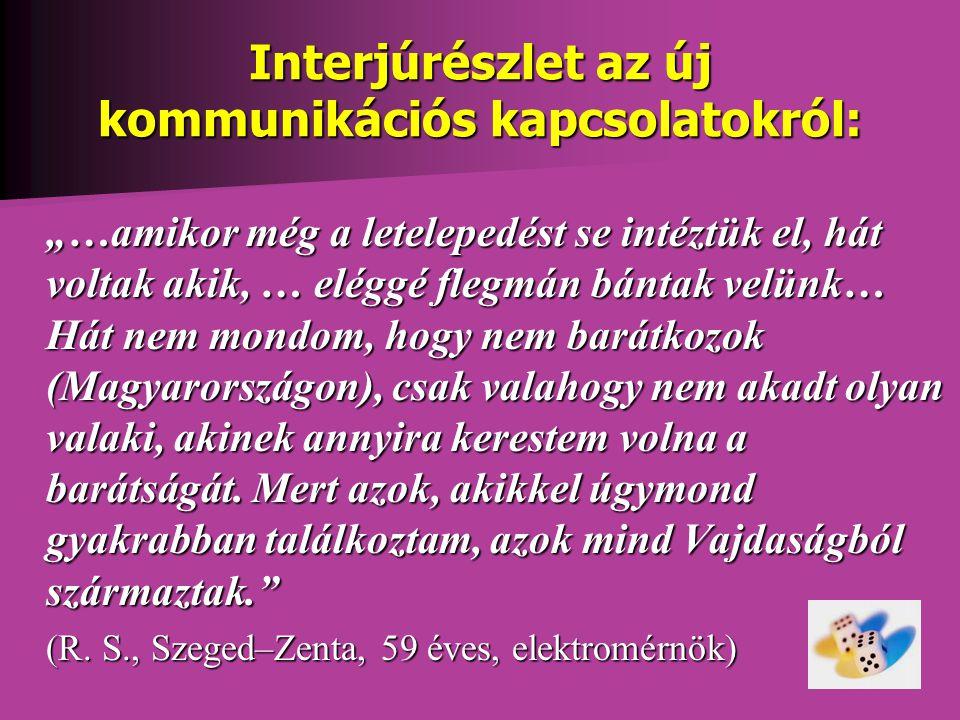 """Interjúrészlet az új kommunikációs kapcsolatokról: """"…amikor még a letelepedést se intéztük el, hát voltak akik, … eléggé flegmán bántak velünk… Hát nem mondom, hogy nem barátkozok (Magyarországon), csak valahogy nem akadt olyan valaki, akinek annyira kerestem volna a barátságát."""