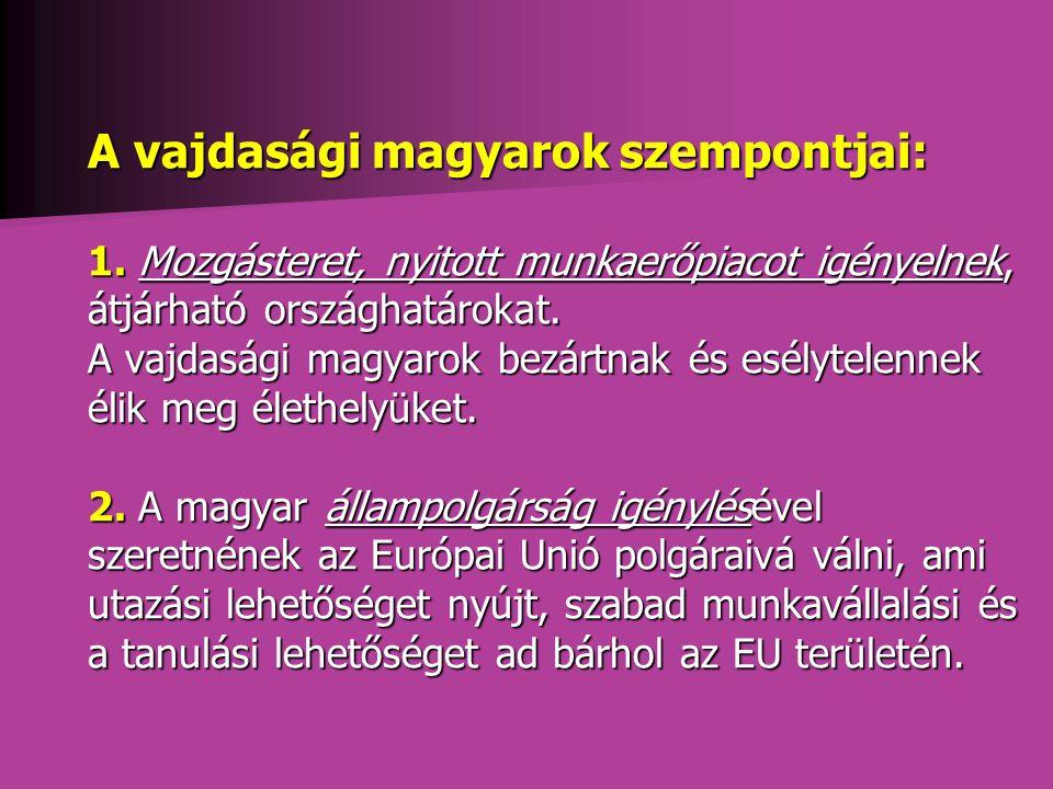 A vajdasági magyarok szempontjai: 1.