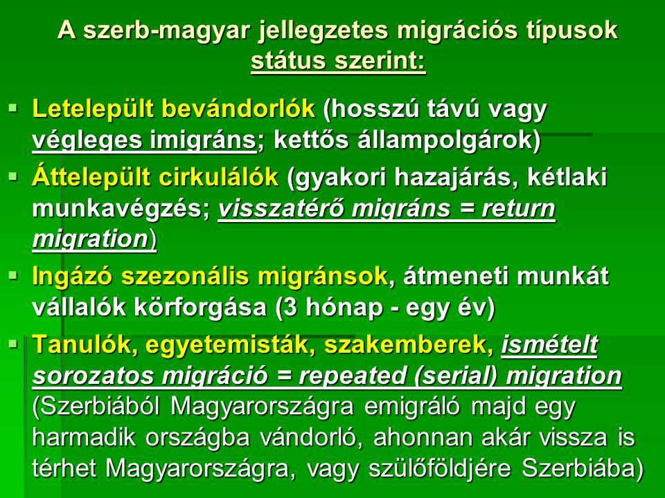 A szerb-magyar jellegzetes migrációs típusok státus szerint:  Letelepült bevándorlók (hosszú távú vagy végleges imigráns; kettős állampolgárok)  Áttelepült cirkulálók (gyakori hazajárás, kétlaki munkavégzés; visszatérő migráns = return migration)  Ingázó szezonális migránsok, átmeneti munkát vállalók körforgása (3 hónap - egy év)  Tanulók, egyetemisták, szakemberek, ismételt sorozatos migráció = repeated (serial) migration (Szerbiából Magyarországra emigráló majd egy harmadik országba vándorló, ahonnan akár vissza is térhet Magyarországra, vagy szülőföldjére Szerbiába)