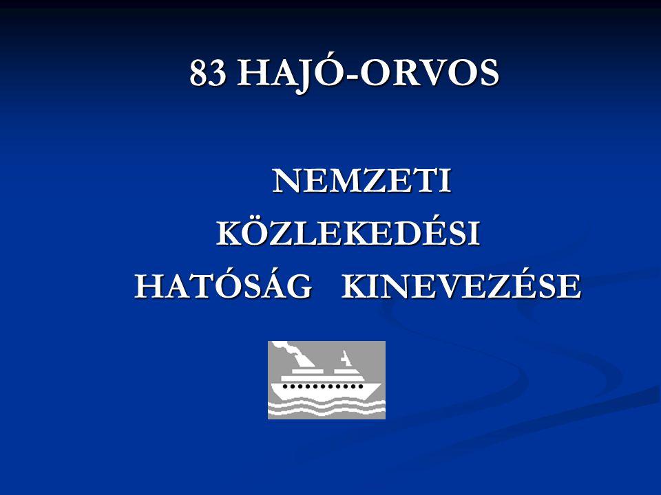 83 HAJÓ-ORVOS 83 HAJÓ-ORVOS NEMZETI NEMZETIKÖZLEKEDÉSI HATÓSÁG KINEVEZÉSE HATÓSÁG KINEVEZÉSE