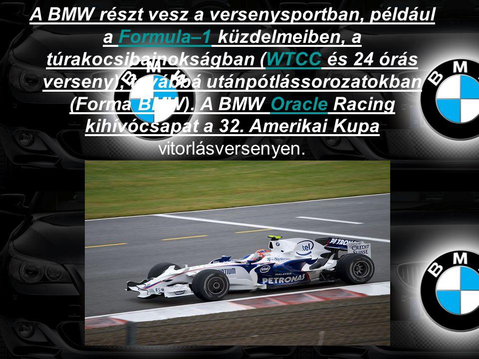 A BMW részt vesz a versenysportban, például a Formula–1 küzdelmeiben, a túrakocsibajnokságban (WTCC és 24 órás verseny), továbbá utánpótlássorozatokba