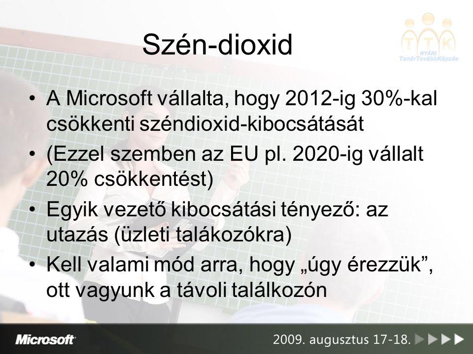 Szén-dioxid •A Microsoft vállalta, hogy 2012-ig 30%-kal csökkenti széndioxid-kibocsátását •(Ezzel szemben az EU pl.
